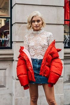 Street Style_ orange bomber worn back with laced top and denim mini skirt | Saved by Gabby Fincham |