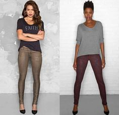 (03a) Joy Legging in Bronze - (03b) Peace Skinny in Syrah - Cj by Cookie Johnson 2014-2015 Fall Autumn Winter Womens Lookbook Fashion Collection - Denim Jeans Colored Coated Printed Leggings Shirt Ankle Skinny Jacket Grunge Flowers Floral Ornamental Print Decorative Art Reptile Alligator Crocodile