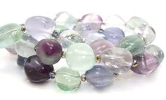 21.5in long Gorgeous Rainbow Fluorite Nuggets and Iridescent Purple Crystals Necklace | AyaDesigns - Jewelry on ArtFire