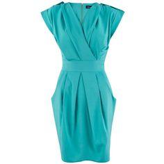 Closet Cross Over Dress, Aqua ($30) ❤ liked on Polyvore featuring dresses, maxi dress, blue midi dress, mini dress, blue sleeveless dress and blue dress