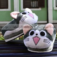 Hyraxes cheese cat cartoon slippers full package with winter thermal floor plush slippers at home US $22.30