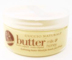 Intense hydrating Butter Blend Treatment for hands, feet and body. The Honey is a natural humectant that soothes, moisturizes and adds vital nutrients. The Milk's lactic acid refreshes and stimulates