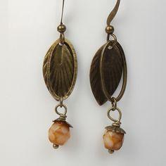 Hawthorn Leaf Earrings in Tan Jewelry Ideas, Jewelry Accessories, Fashion Accessories, Earrings Handmade, Handmade Jewelry, Leaf Earrings, Czech Glass Beads, Antique Brass, Ireland