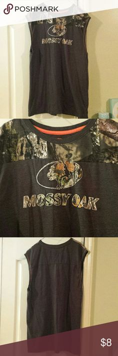 $5 IF Bundled. Mossy Oak Sleeveless Tee No sleeve Mossy Oak. Dark grey and camo. Excellent used condition. No holes or stains. Only worn a few times. Mossy Oak Shirts Tank Tops