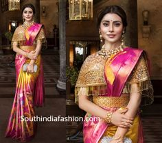 Shriya Saran Shows How To Style Silk Sarees With Trendy Blouses. Rich kanjeevaram silk sarees by VRK silks paired wit modern blouse designs Bridal Silk Saree, Silk Sarees, Kanjivaram Sarees, Kanchipuram Saree, Modern Blouse Designs, Saree Blouse Neck Designs, Designer Blouse Patterns, Stylish Sarees, Saree Look