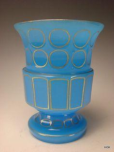 Antique Blue Opaline Bohemian French Art Glass Vase