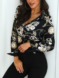 302d79bf081 Shop Long Sleeve Scarf Print Casual Shirt – Discover sexy women fashion at  Boutiquefeel