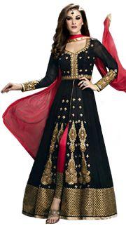 Buy Gold Silk Zardosi and Sequins Work Designer Salwar Kameez 27469 online at lowest price from huge collection of salwar kameez at Indianclothstore.com.