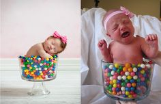 Emma's Pinterest Fail Newborns & gumballs don't mix.......