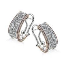 18k Rose & White Gold SImon Set Diamond Earrings - ME1902-RW - Simon G.