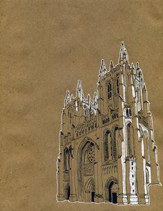 art sketchbook the National Cathedral Art Du Croquis, A Level Art, Urban Sketchers, High Art, Architecture Drawings, Environmental Art, Art Sketchbook, Art Inspo, Design Art