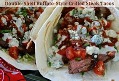 Double-Shell Buffalo-Style Grilled Steak Tacos from Kelly Williams of Wildflour's Cottage Kitchen