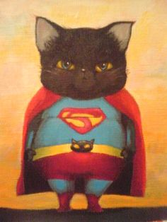Faster than a speeding bullet...more powerful than a locomotive...it's a bird - it's a plane....it's Super Cat!!! #superheros #art #cats #cute