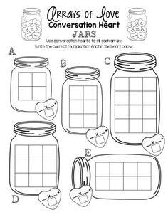 Arrays of Love - Conversation Heart Jars FREEbie!  Visit www.littlelearninglane.com for more fun ideas & FREE printables!