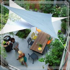The perfect way to keep the garden party cool this summer. Layered sail cloth canopies are light, versatile, and easy to to install.