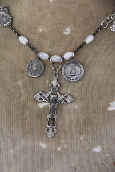 vintage French rosary medals and crosses