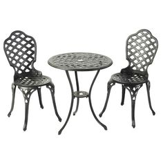 Elegant cast aluminium bistro dining set. £170.99  http://www.worldstores.co.uk/p/Bergamo_Bistro_Set.htm