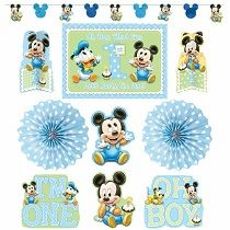 """Mickey Mouse 1st Birthday Decorating Kit  Load his 1st birthday with Disney Fun through this Mickey Mouse 1st Birthday Decorating Kit! It includes Mickey Mouse image and silhouette garland attached on clear thin string, blue polka dots designed fans, Mickey image cutouts with """"I'm One"""" and Oh Boy"""" statements , large 'Oh Boy, What Fun Let's Party, I'm One' signage."""