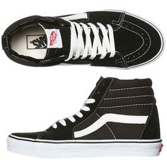 Vans Womens Sk8 Hi Shoe ($99) ❤ liked on Polyvore featuring shoes, sneakers, vans, black, high top trainers, high top sneakers, kohl shoes, black trainers and black sneakers