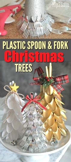 Plastic Spoon & Fork Christmas Trees (Easy Dollar Store Christmas Centerpiece Idea) is part of Dollar Store Christmas crafts - Here's how to turn plastic spoons and forks into a festive and frugal Christmas Tree centerpiece with this EASY craft idea Recycled Christmas Decorations, Recycled Christmas Tree, Christmas Tree Crafts, Christmas Centerpieces, Christmas Projects, Holiday Crafts, Christmas Ornaments, Plastic Christmas Tree, Xmas Trees