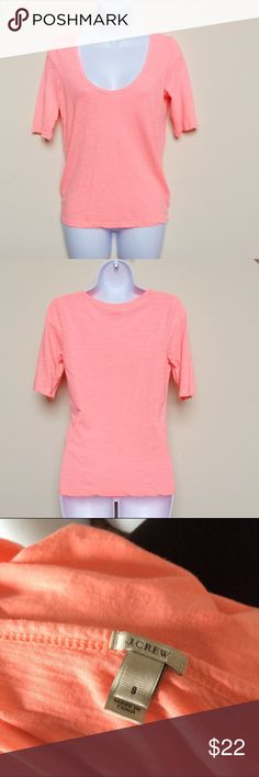 J.Crew Bright Salmon Colored Half-Sleeve Top Bright pink/orange colored size S top from J.Crew.  Top has half-length sleeves and a low scoop neck.  Top is in good used condition. J. Crew Tops Tees - Long Sleeve