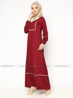 piliseli robe brodée - Rouge - Robe - Modanisa