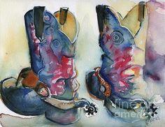 Cowboy Boots In Watercolor Good Ride by Maria's Watercolor