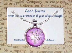 "Good Karma Necklace Good Karma Jewelry Quote Gift ""wear this as a reminder of our infinite strength"" Silver Tree Of Life Jewelry,Purple,Pink by SheCollectsICreate on Etsy"