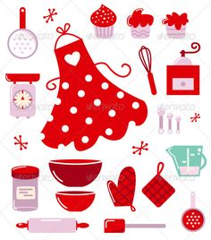 Baking icons or accessories set isolated on white Black and orange retro baking set. Vector Illustration Created: GraphicsFilesIncluded: VectorEPS Layered: No MinimumAdobeCSVersion: CS Tags: apron Blank Cookbook, Kitchen Clipart, Cupcake Pictures, Baking Set, Baking Tools, Exploding Boxes, Recipe Cards, Flower Cards, Kitchens
