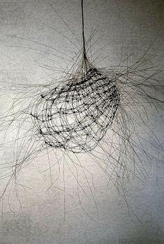 "Sculpture ""Study"" by Anne Mudge Study Stainless steel wire and asphaltum 30 "" x 30 "" x 30 "" Sculptures Sur Fil, Art Sculpture, Metal Sculptures, Abstract Sculpture, Bronze Sculpture, Land Art, Art Actuel, Instalation Art, Art Du Fil"