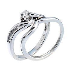 18ct White Gold Third Carat Diamond Twist Bridal Ring Set