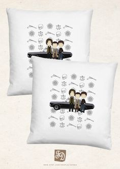 SUPERNATURAL pillow / cute Sam and Dean Winchester by FeerieDoll, €15.24