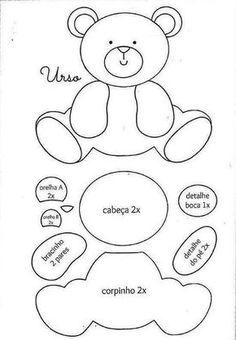 cute baby bear felt pattern, would look lovely on a little girls/boys nappy bag… Felt Templates, Applique Templates, Applique Patterns, Patchwork Patterns, Patchwork Ideas, Stitch Patterns, Quilt Baby, Felt Patterns, Craft Patterns
