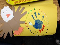 Bald Eagle craft (kindergarten)  Eagle = traces hands and foot. Cut up white paper