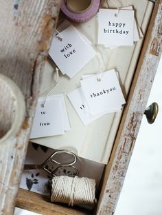 simple tags - i need an old fashioned typewriter in my life!