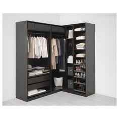 IKEA - PAX Corner wardrobe black-brown, Forsand Vikedal