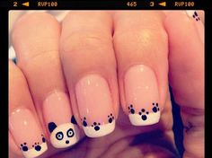 This is a very cute style Nail Art. It is a drawing of a panda on top of a French manicure. Cute Nail Art, Gel Nail Art, Nail Manicure, Cat Nail Designs, Girls Nail Designs, Nails For Kids, Girls Nails, Panda Nail Art, Black Nails With Glitter