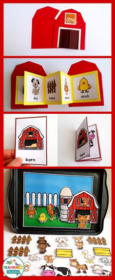 Farm Vocabulary Activities - Use this resource with your preschool, Kindergarten, or 1st grade classroom or home school students. It's great for your vocabulary or speech therapy lessons. You get a craftivity, foldable, mini books, write the room, counting syllables, and an interactive vocabulary scene. Use this with the classroom farmyard theme, with the farm classroom decor pack, or just for fun! {preK, K, first graders}