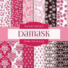 Pink Damask Digital Paper DP4861