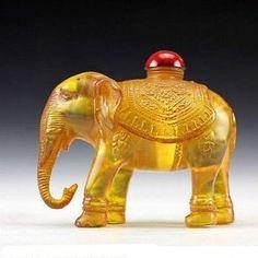 """Old Chinese Peking Glass Snuff Bottle 3"""" Elephant Shaped."""