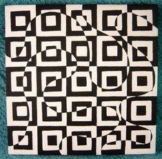 Artículos similares a Black and White Geometric Square & Swirl Op Art Design OOAK original painting on canvas en Etsy