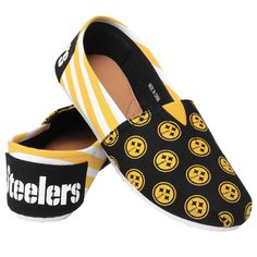 Pittsburgh Steelers Forever Collectibles Women's Canvas Slip On Shoes Sizes S-XL w/ Priority Shipping