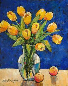 Flower Art Original Art Still-life Spring Flowers Painting Wall Art Plant Art Floral Art Yellow Wildflowers Painting by NadinArtFinds