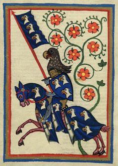 Destrier du Moyen Age. Codex Manesse