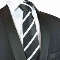 Black and white striped Silk Tie with matching silk pouch (X035)