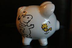 Medium Snoopy hand painted piggy bank