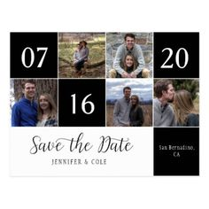 Script Five Photo Calendar Block Save The Date Postcard - photo gifts cyo photos personalize