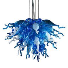 Viz Art Glass Blue Love Mini Blue Love Three-Light LED Chandelier in Aqua/Opaline Adjustable Height, Contemporary & Modern Blown Glass Chandelier, Art Deco Chandelier, Mini Chandelier, Chandelier Lighting, Island Pendants, Vintage Iron, Opaline, Jewel Tones, Hand Blown Glass