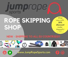 We are very proud and happy to announce the following news:  From now on you can order from us from all EU countries! We ship the jump ropes directly to you - there are no additional costs!  To celebrate this we give you 20% on your first purchase (use the code on the flyer) - so Happy Shopping. We look forward to your orders and of course to answer your questions.  www.jumpropesports.com (all other Countries in EU) www.jumpropesports.de (for Germany only)  #ropeskipping #rope #jumprope Eu Countries, Skipping Rope, Ropes, Happy Shopping, Germany, Coding, Ship, This Or That Questions, News