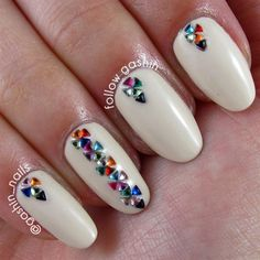 Nail Designs with Rhinestones - Nail Designs with Rhinestones , 50 Designs Flat Glitter Ab Color Nail Art Rhinestones Gems Nail Art Designs, Crazy Nail Designs, Gem Nails, Matte Nails, Jewel Nails, Garra, Galeries D'art D'ongles, Nail Art Strass, Nails Design With Rhinestones